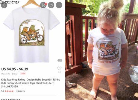 Tričko a vedle toho, dítě s tričkem
