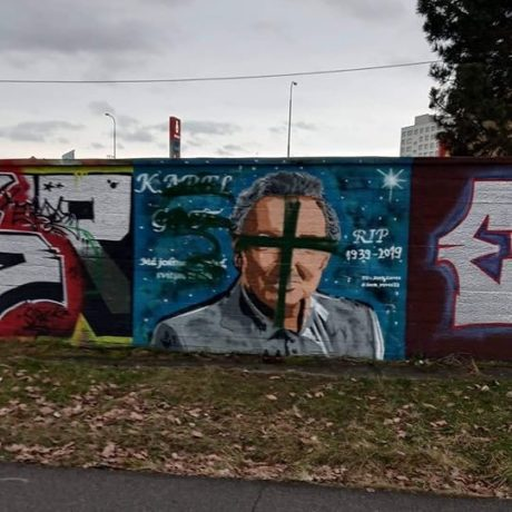 Takto vypadá graffiti Karla Gotta v Českých Budějovicích nyní
