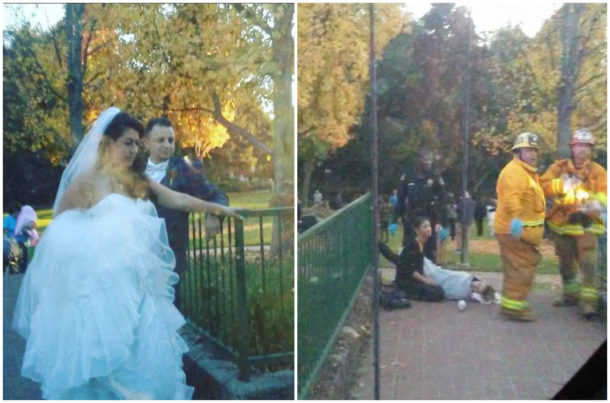 Na svatebčany spadl v parku strom