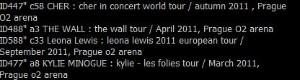 Seznam koncertů, který Koule získala.